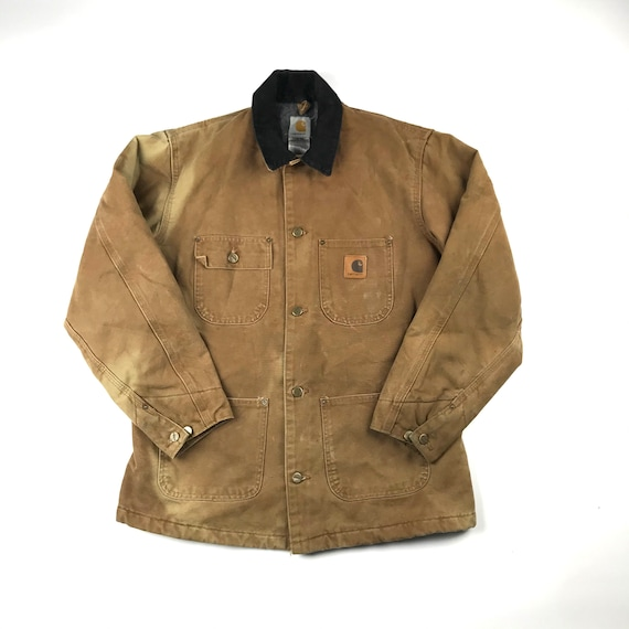 Vintage Carhartt Faded Brown Chore Jacket   Size … - image 1