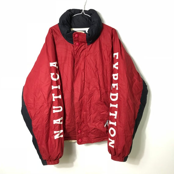 Vintage 90s Nautica Expedition Reversible Red White Etsy