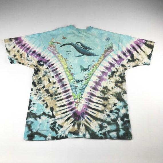 Vintage 1990 Tie Dye Marina Liquid Blue T-shirt  … - image 5