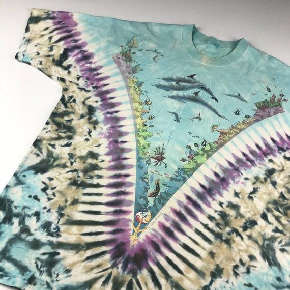 Vintage 1990 Tie Dye Marina Liquid Blue T-shirt  … - image 2