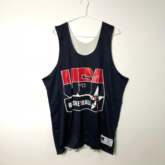 ea16103a28863 Vintage 90s Champion U.S.A BASKETBALL Reverse Navy White