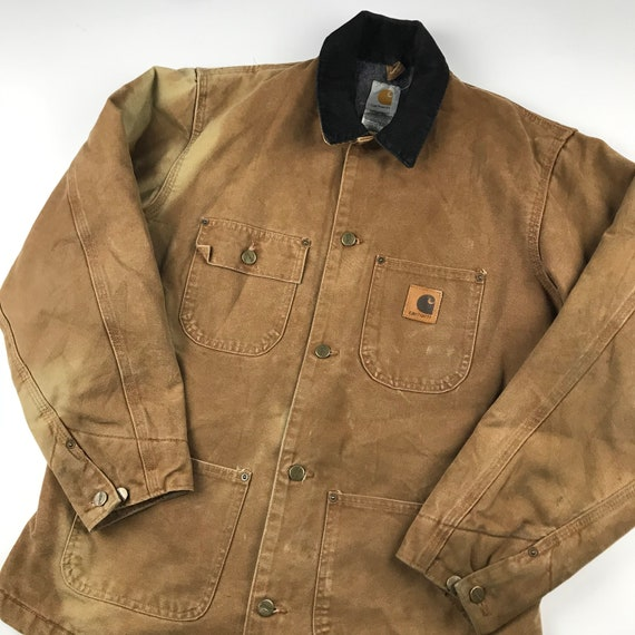 Vintage Carhartt Faded Brown Chore Jacket   Size … - image 2