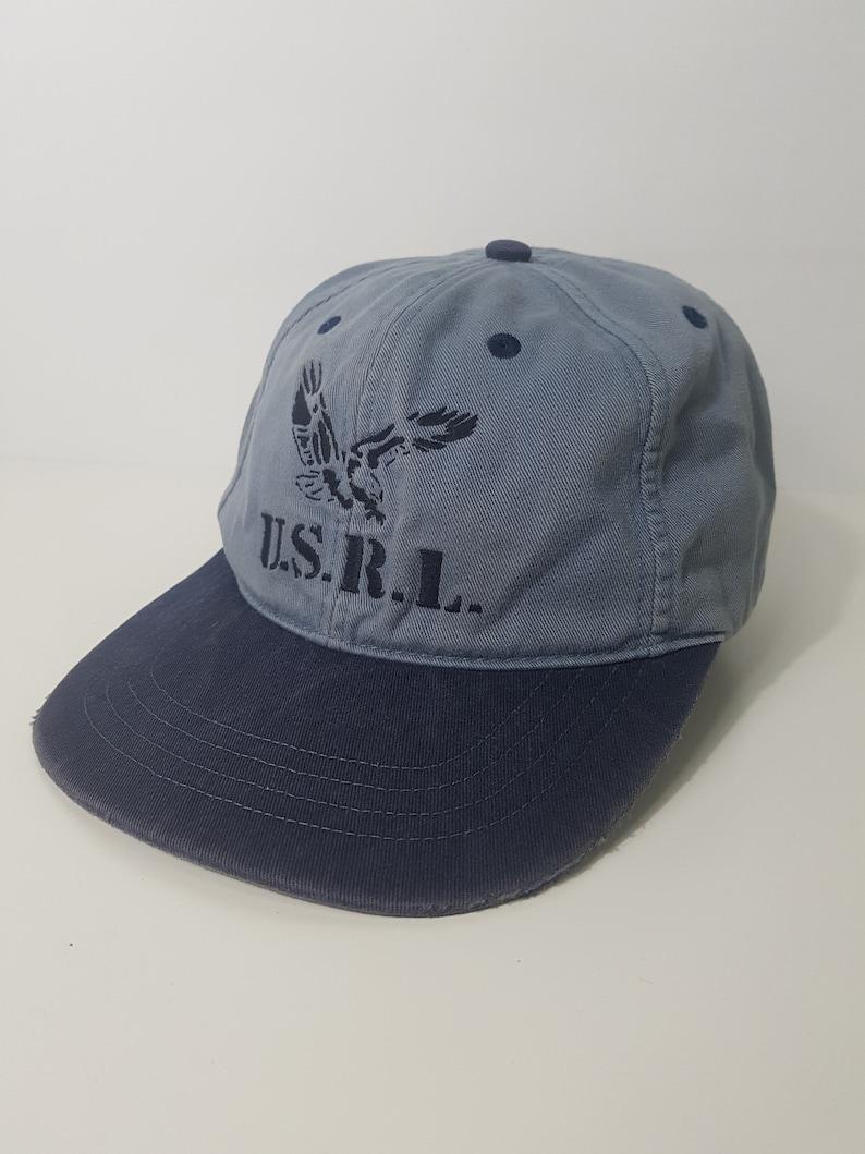 a55e5e1f3 1990s Vintage Ralph Lauren Polo USRL Leather Strapback Hat