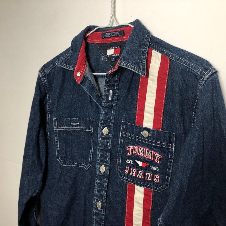 Vintage Tommy Hilfiger 90s buttown down flag denim shirt size medium