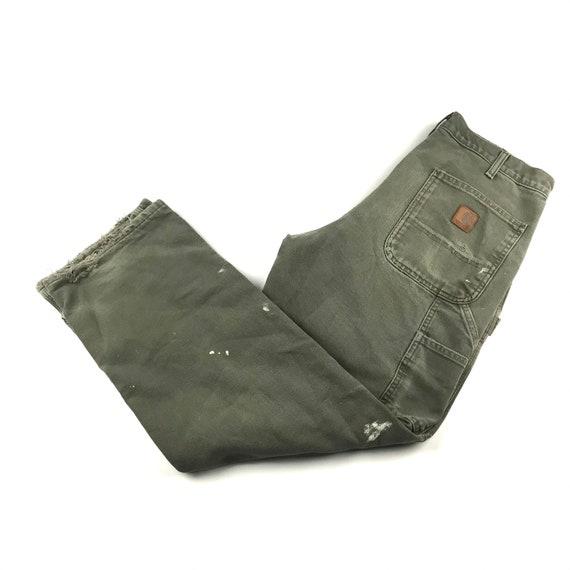 Rare Vintage CARHARTT Olive Green Faded Worker Carpanter Denim Pants waist 30