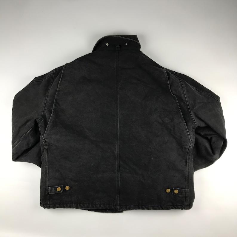 Size XL Vintage Carhartt Faded Black Jacket w Corduroy Collar