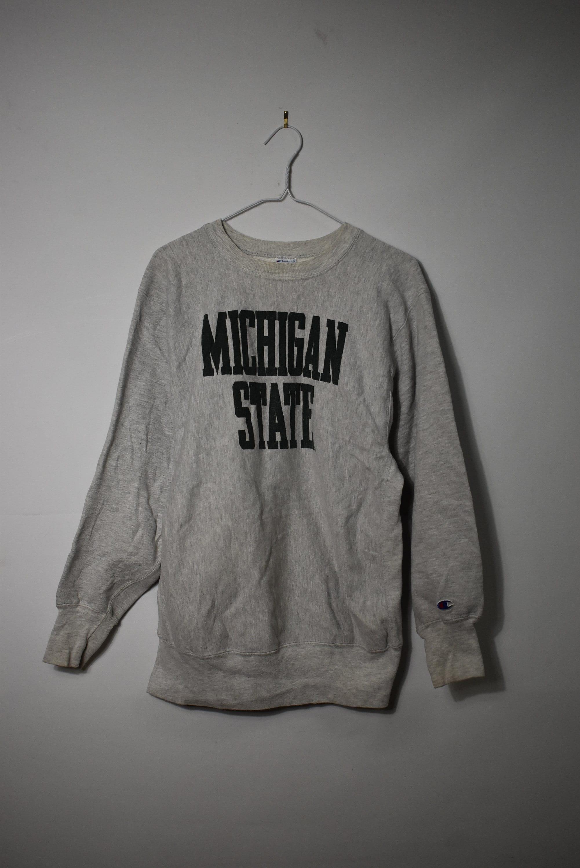 bb982537c Vintage 90s - Champion Reverse Weave - Michigan State Print - Grey Crewneck  Sweater | XL - 90s Retro Throwback - Free Shipping
