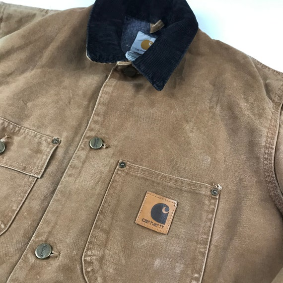 Vintage Carhartt Faded Brown Chore Jacket   Size … - image 3