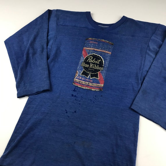 80s Vintage Deadstock RUSSELL Athletic Blue Raglan Baseball Tee T-Shirt ~ PABST Beer Decal Iron On ~ Size Large ~ Made in USA