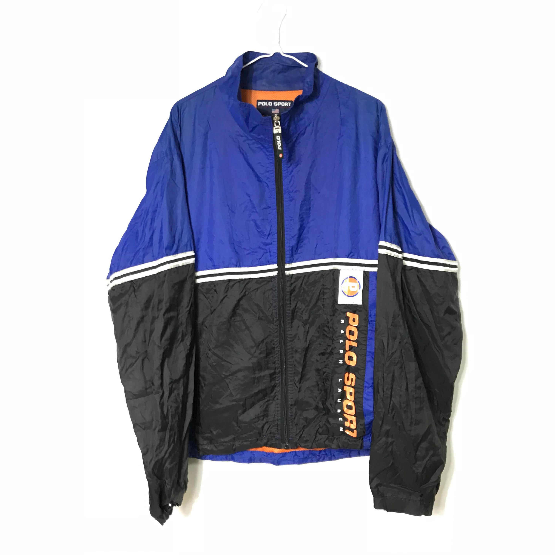 Vintage 90s - RALPH LAUREN - Polo Sport - Retro Blue/Black Windbreaker  Jacket - Large