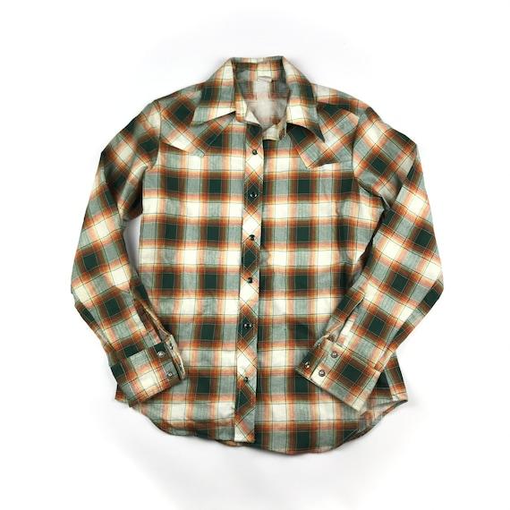 Vintage 80s Plaid Wrangler Shirt Western  Large  Vintage Plaid Cowboy Made in USA