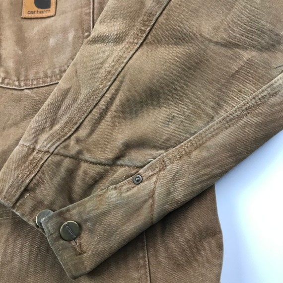 Vintage Carhartt Faded Brown Chore Jacket   Size … - image 6