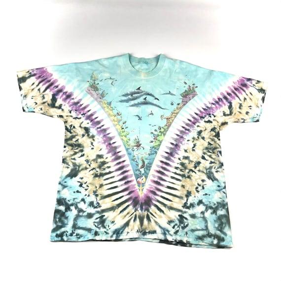 Vintage 1990 Tie Dye Marina Liquid Blue T-shirt  … - image 1