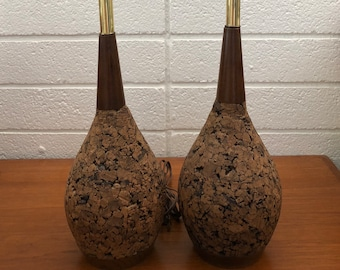 Vintage Cork and Walnut Table Lamps