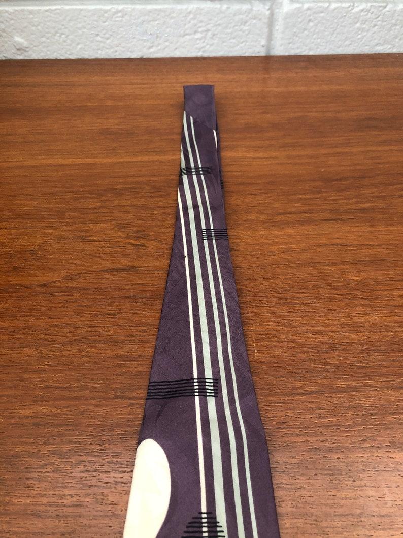 Vintage Modules Abstract Purple Silk Necktie Japan