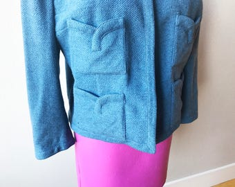 Miss Tippi Hedren | 1960s Blue Long Sleeved Womens Blazer with Interesting Scalloped Pockets Well Constructed Unique Interesting Size 9