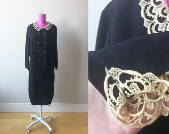 1920s Mourning Dress Beautiful Black Double Breasted Shift with Elegant Lace Peter Pan Collar and Cuffs Adorned with Gold Rose Brass Buttons