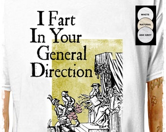 Monty Python - Directional Farting .. 100% Cotton T-Shirt   cult comedy funny insult medieval woodcut stag christmas   LazyCarrot