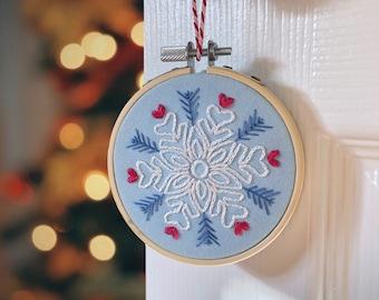 Snowflake Christmas Decoration: Full Embroidery Kit