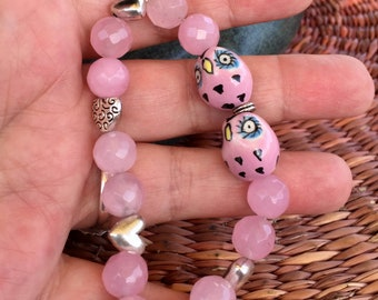 Pink quartz stretch bracelet with ceramic owl and heart beads