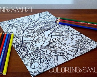 Abstract Printable coloring, Coloring Page, printable coloring pages, Adult Coloring Page, Coloring Page, Coloring sheet, doodle art, Adult