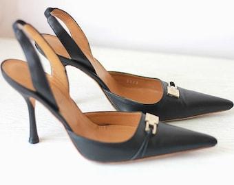 7325d24c1d9 GIANNI VERSACE Pumps Black Leather Gold Medusa Heels Vintage Women Shoes  Luxurious Size EU 36