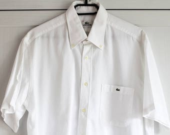 LACOSTE White Men s Shirt Lacoste Vintage Short Sleeve Oxfords Buttons Size  43 Made in Italy 8edc02bdc3