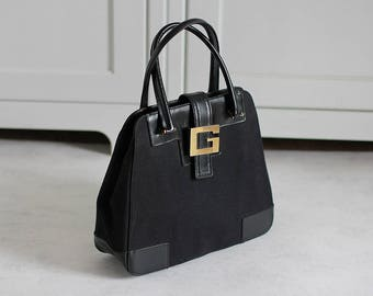 Sac à main Gucci or noir cuir toile boucle G femmes Retro Vintage Made in  Italy 32f849fc85d