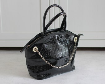 4ce5ae9e4296 Versace Vintage Women Bag Black Lacquered Crocodile Handbag