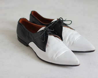 9cb0f19e45 Jil Sander Oxford Shoes Vintage Women Black White Leather Vintage Size 37,5