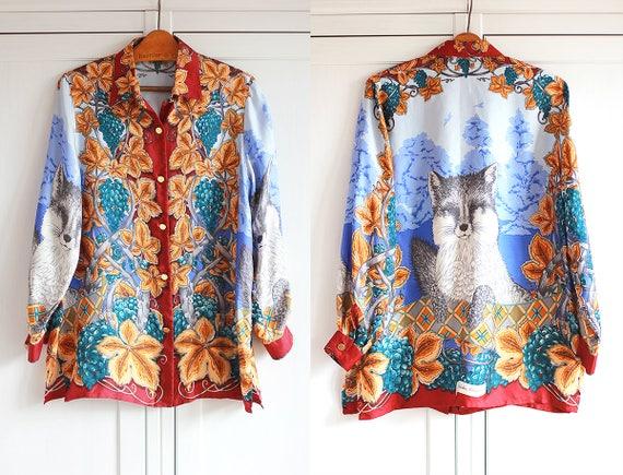 SALVATORE FERRAGAMO Vintage Silk Shirt Jungle Flor