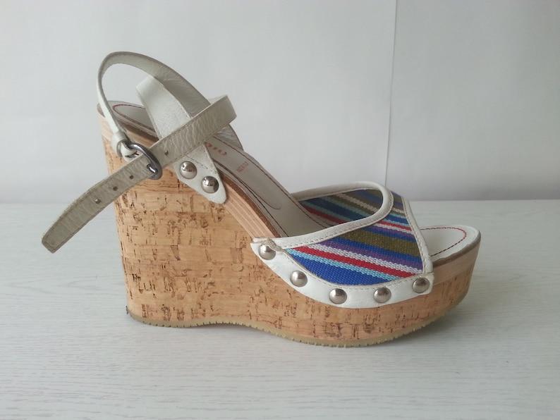 5566094a80f2 Miu Miu Espadrille Sandals Platform Women Sandals Leather