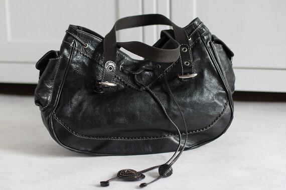 Vintage Moschino Bag Black Leather Hand Bag Vintag