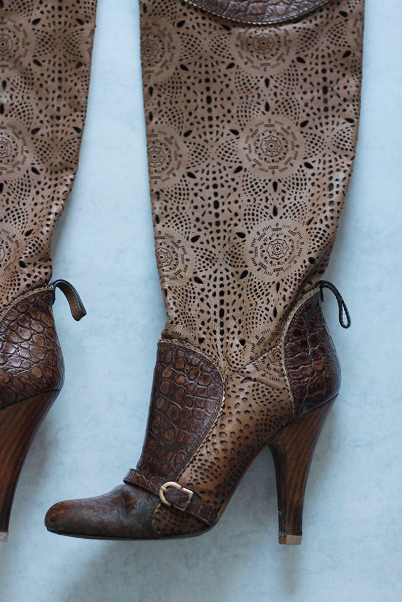 GIANMARCO LORENZI Women Openwork Boots Summer Brown Leather Size EU 37 Made in Italy