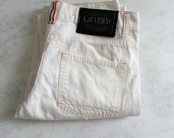 Moschino Jeans White Women Vintage Jeans Pants Size Italy Label 46 Made in Italy