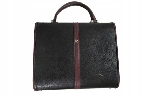 70s Pierre Cardin Paris Box Bag Vintage Black Leat