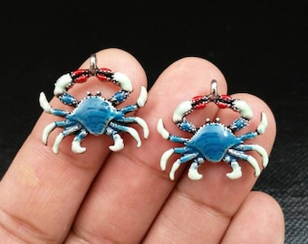 594a20087e48e Pair Of Blue Crab Charms Silver Blue Enamel Crab Pendants Crab Lover's  Seafood Lover's Beach Lover's Earrings Bracelet Yoga Mala Necklace.