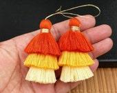 One 3 Layer Cotton Tassel 75mm 3 Color Earrings Yoga Mala Necklace Dance Dress Costume Handmade Supply DIY Bohemian Jewelry Findings