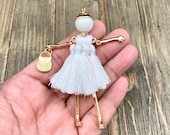 Fashion Doll Pendant White Tassels Dress Handmade Moveable French Golden Charm Leather Yoga Mala Long Sweater Necklace Bohemian Jewelry Gift