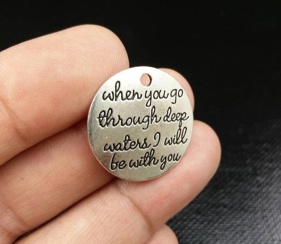 Stainless Steel Quote Charms, 35mm x 8mm Affirmation Charms Set of 4 Key Chain Charms Word Charms Keep Going Boho Charms