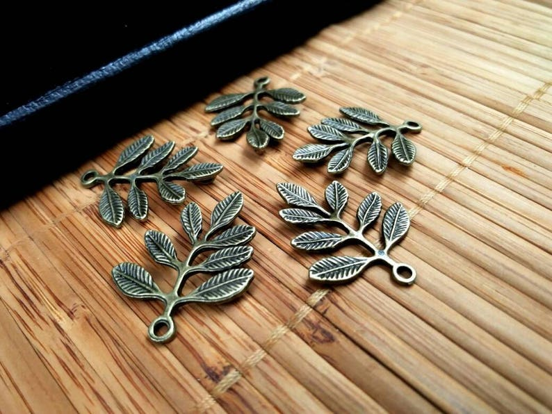 Leaf Connectors Bronze Vintage Style Leaves Links Charms Earrings Bracelet Anklet Yoga Mala Necklace Bohemian Jewelry Making Supply Findings