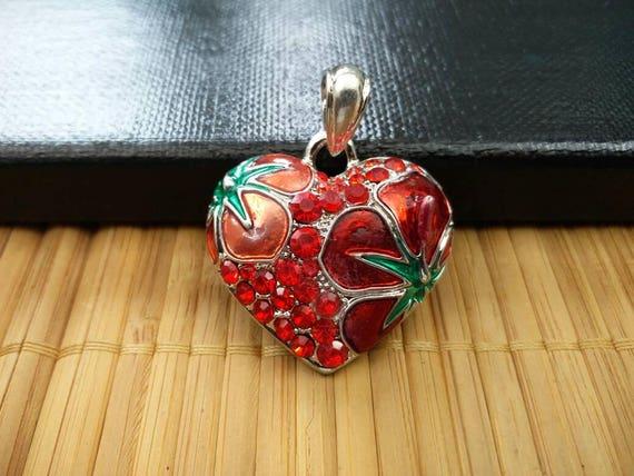 Big Heart Pendant Beautiful Multicolor Enamel Love Charm Boho Gypsy Hippie DIY Bohemian Jewelry Finding Valentine Mala Long Sweater Necklace