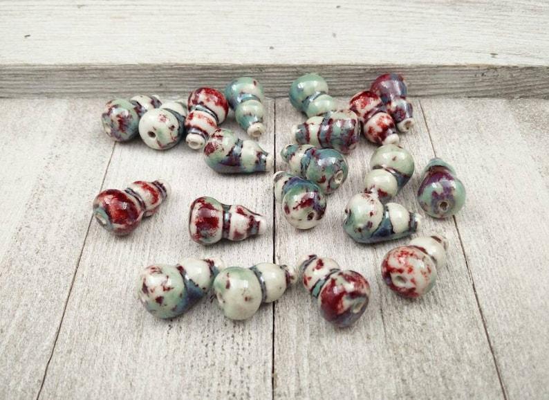 Ceramic Vase Shape Beads 20x13x6mm Porcelain Hand Painted Handmade Multicolor Guru Focal Religious Rosary Tasbeeh Yoga Mala Necklace Beads