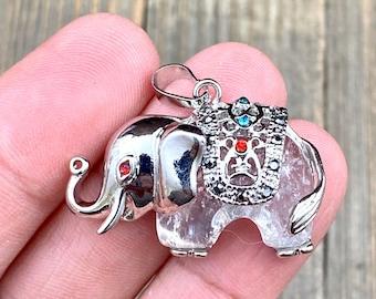 Elephant Pendant Crystal Clear Quartz Silver Charm Religious Meditation Yoga Mala Indian Sacred Animal Lover's Necklace Earrings Bracelet.