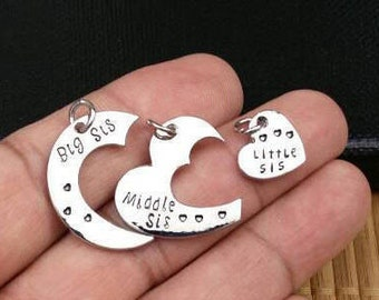 Sister's Love Pendant Charms Love Charms 3 Sisters Love Jewelry Big Sister Middle Sister Little Sister Love Pendants For Necklaces Earrings.