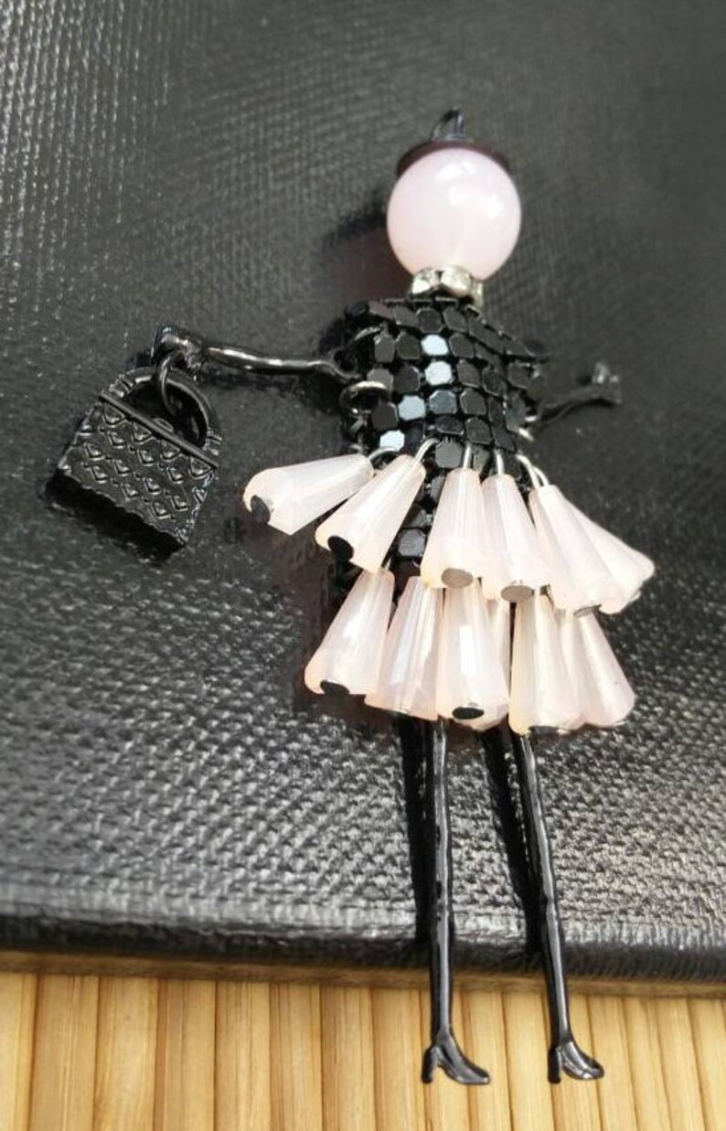 Black /& Pink Dress Doll Handmade Moveable Light Weight French Doll Charm DIY Earrings Long Sweater Pendant Necklace Bohemian Jewelry Supply.