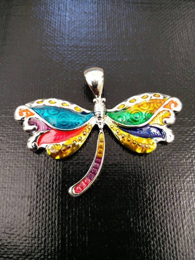 Dragonfly Pendant Silver Multicolor Enamel Charm DIY Bohemian Jewelry Findings Dragonfly Lover/'s Collector/'s Yoga Mala Long Sweater Necklace