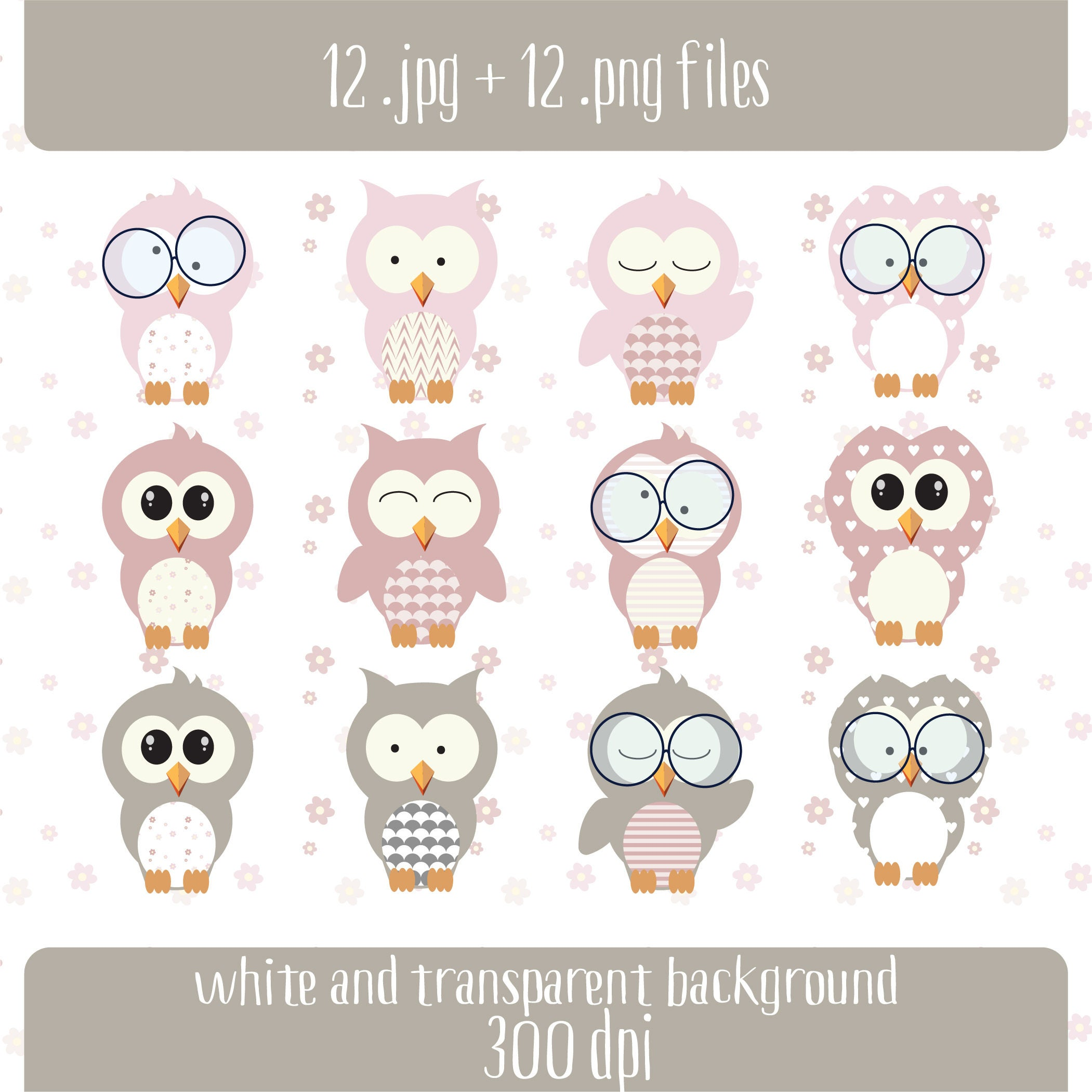 Pink & Gray Owl Clipart Baby Owl Nursery Clipart | Etsy
