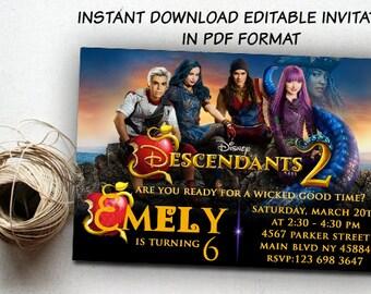 Descendants Invitations Instant Download, Descendants 2 Invitation, Descendants 2 Invitations Instant, Descendants Party, Disney Descendents