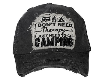 I just want to go CAMPING Vintage Baseball Cap